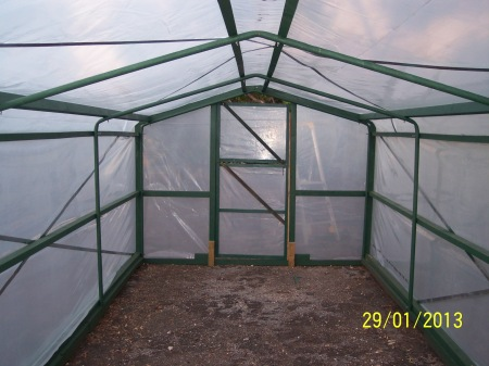 Inside the completed hothouse. Dimensions are 6m high x 2.7m wide and 2.4m high.