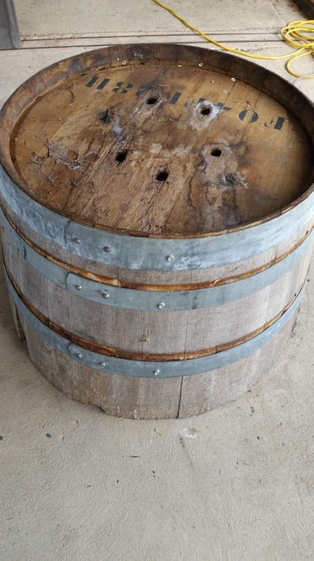 The barrel after the rings have been punched down. You can see the amount they have been punched down by the fresher look of the timber.