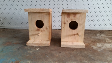 Newly made finch nest boxes. They stand 17cm high and 12cm x 10cm wide and deep.